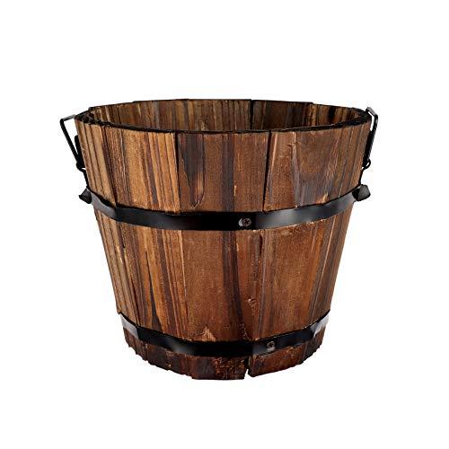 Angoily 1 unidad pequeña de madera para macetas, maceteros redondos de madera para decoración de jardín (20 x 14 x 15 cm)