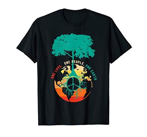 World Peace Tree Love People Earth Day 60s 70s Hippie Retro T-Shirt