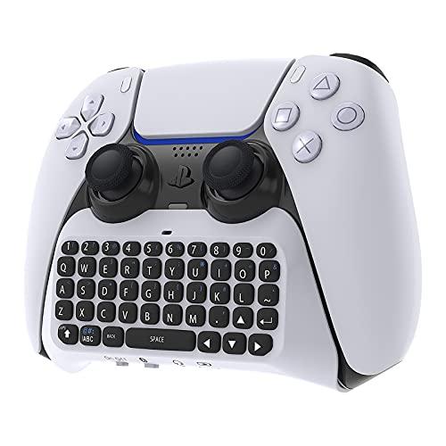 MENEEA Kabellose Controller-Tastatur für PS5, Bluetooth 3.0 Tragbares Mini-Gamepad-Chatpad mit integriertem Lautsprecher und 3,5-mm-Audiobuchse für Messaging und Gaming-Live-Chat