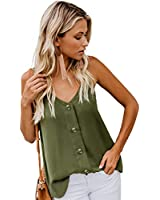 Womens Ladies Sexy V Neck Spaghetti Strap Tank Tops Solid Flowy Sleeveless Blouses Shirts Army Green