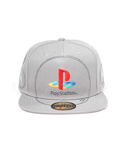 Difuzed Sony Playstation Snap Back Baseball Cap Silver Logo Caps tzen