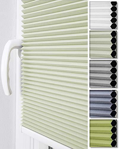 Home-Vision® Premium Doppelplissee Wabenplissee ohne Bohren mit Klemmträger / -fix (Weiß-Creme, B75cm x H150cm) Zweifarbig Blickdicht Sonnenschutz Jalousie für Fenster & Tür