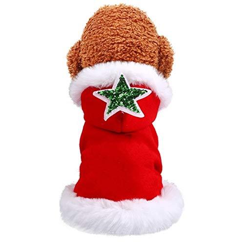 nobrand Neujahrsweihnachtskleidung Teddy Spitz Wollmantel Temperament Haustier-Kleidung Hund Katze Herbst und Winter Style Cape Coat Lustige niedliche Haustierkleidung (Color : Red, Size : L)