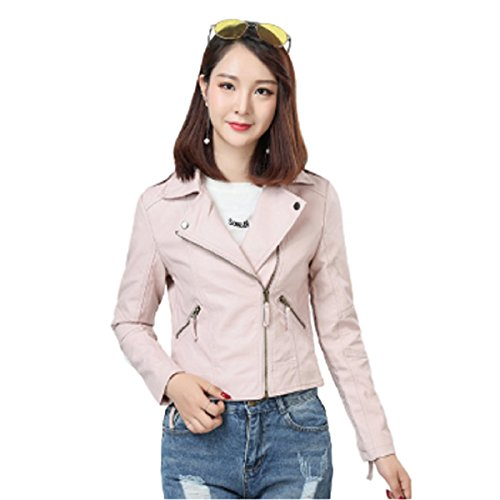 EMONJAY Women's Motorcycle Biker Jackets PU Leather Short Coat Thin and Light Lades Jacket (Light Pink, M)
