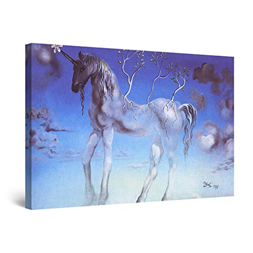 Startonight Canvas Wall Art - Salvador Dali Unicorn, Reproduction Framed 32 x 48 Inches