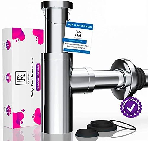 M. ROSENFELD HOME Design Siphon Waschbecken KRAFTEX Extra starke 304er Edelstahl Wände mit 750g Universal Geruchsverschluss, 2 Sets Dichtungen mit Reinigungsöffnung + Einbauanleitung an Ablaufgarnitur