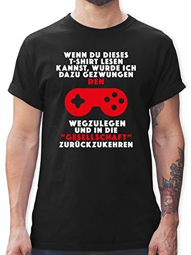 Nerds & Geeks - Wenn du Dieses T-Shirt lesen Kannst Gamer - XXL - Schwarz - Tshirt wenn du das lesen Kannst - L190 - Tshirt Herren und Männer T-Shirts