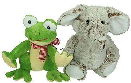 Betz Plüschtier Set 2 Stück Plüschtiere Kuscheltiere Stofftiere Frosch und Elefant