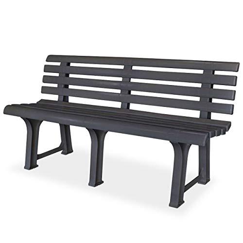 Mojawo Parkbank Gartenbank aus Kunststoff 3 Sitzer strapazierfähig 145x49x74 cm Bank Balkonbank Anthrazit