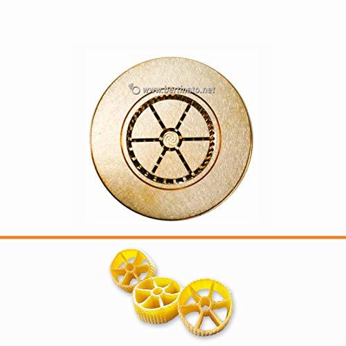 Teigwareneinsatz Ruote Räder für professionelle Nudelmaschine La Fattorina 1,5 kg, kompatibel mit FIMAR MPF 1,5 - Matrize aus Bronze