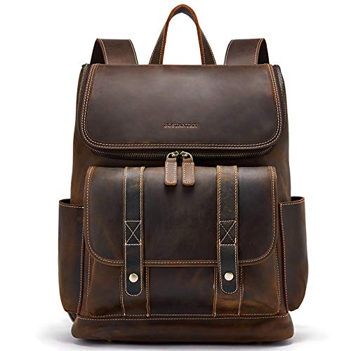 BOSTANTEN Mens Cowhide Leather Backpack 15.6 Inch Laptop Rucksack Large Capacity Leather Casual Daypack Vintage Travel Backpack Coffee