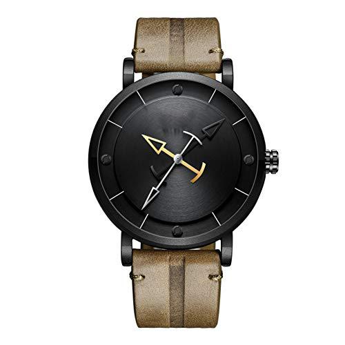 Reloj De Pulsera Cronógrafo para Hombre, Movimiento De Cuarzo Resistente Al Agua, Reloj De Pulsera De Cuero Genuino De Moda para Hombre con Caja De Regalo
