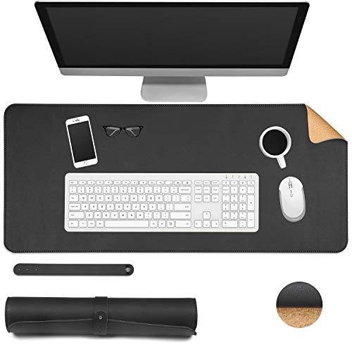 Dricar Alfombrilla de escritorio de piel de corcho, de doble cara, antideslizante, impermeable, alfombrilla para teclado y ratón, para oficina o hogar, 80 x 40 cm (negro + corcho, 80 x 40 cm)