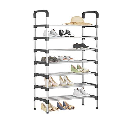UDEAR Estante para Zapatos de 7 Niveles Organizador de Almacenamiento de Zapatos Estante para Zapatos Negro 56 * 30 * 127 CM