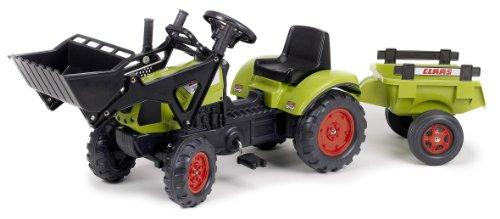 Falk 2040CM Claas Arion 410 - Tractor de pala a pedales con remolque, color verde
