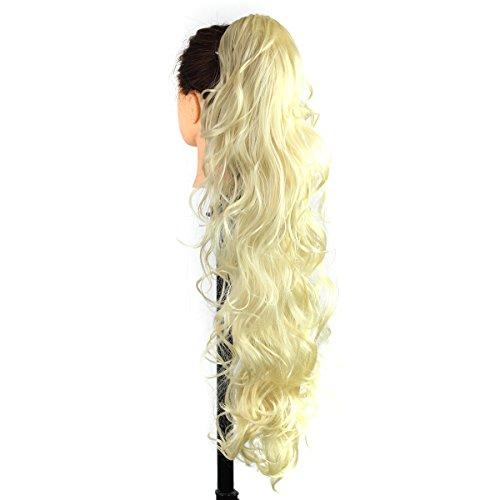 Curly Long Clip femmes Extension de cheveux en queue de cheval ondulée en postiche à griffes synthétiques avec clip de mâchoire de 26 pouces