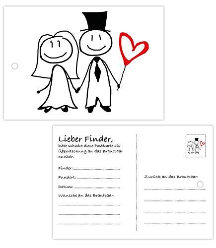 50 Ballonflugkarten zur Hochzeit, gelocht, wetterfest, extra leicht, Din A6 Ballonkarten für weiten Flug, beidseitiger Druck