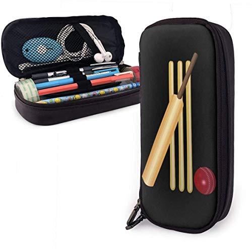 Estuche para lápices de críquet, gran capacidad, de piel sintética, organizador de papelería, multifunción, bolsa de maquillaje, monedero perfecto para lápices y bolígrafos, color Cricket talla única