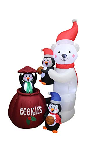 Animated 6 Foot Tall Christmas Inflatable Polar Bear and Three Penguins Cookies Jar Cute Lights Lighted Blowup Party Decoration for Outdoor Indoor Home Garden Family Prop Yard with Motion