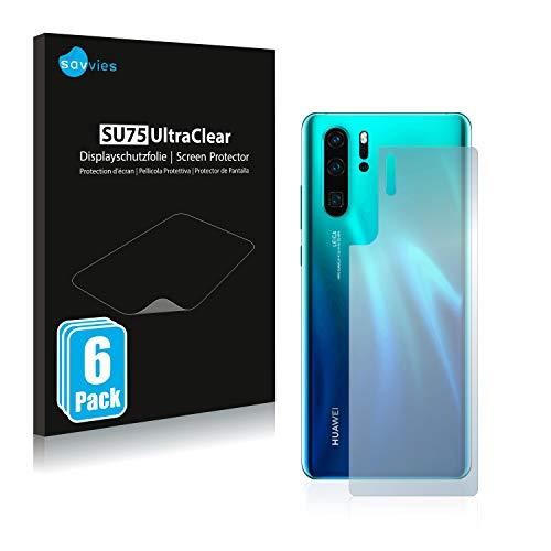 Savvies 6X Schutzfolie kompatibel mit Huawei P30 Pro (Rückseite) Bildschirmschutz-Folie Ultra-transparent
