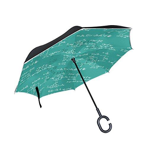 JSTEL Ecuación y cálculos de matemáticas invertidas de doble capa, paraguas de pizarra, para coche, resistente al viento, con mango en forma de C