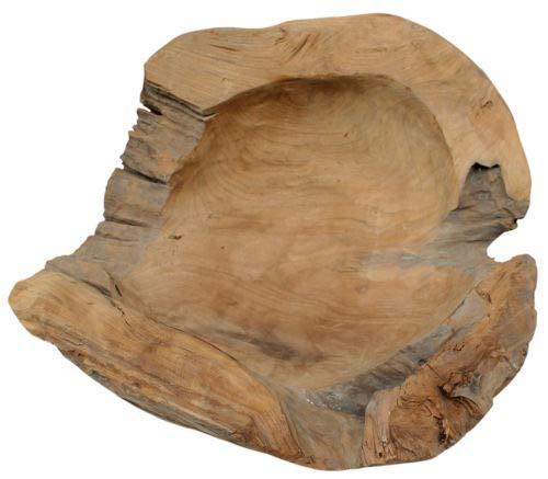 Möbelbörse Teakholzschale Durchmesser 60cm Teakholz Schale Obstschale Holz Deko Schale Massiv Hochwertig XXL