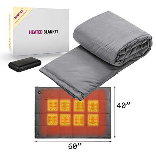 Battery Powered Heated Blanket Portable Super Fast Heating Electric Blanket for Outdoor Activity Body Warming USB Heated Throw Blanket Travel Blanket Office Blanket Outdoor Blanket with Battery