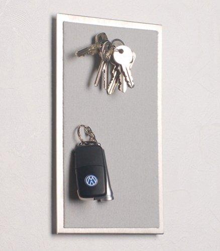Magnet-Schlüssel-Halter aus Edelstahl, mit Filz in hell-grau; in 25 x 15 cm