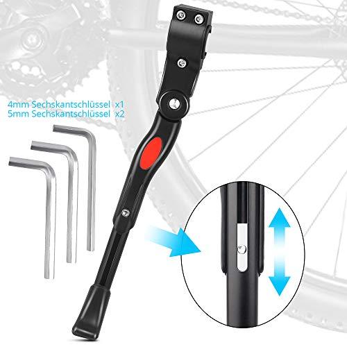 WILTEEXS Fahrradständer, für 24-28 Zoll, Verstellbarer Aluminium-Legierung Universal Fahrrad Seitenständer Mit Anti-Rutsch Gummi-Fuß, Für Mountainbike, Rennrad, Damenrad, Klapprad, E-bike