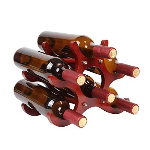 BGHDIDDDDD Estante de vino de la novedad, organizador de vino, estante de botellas de vino, estante de madera maciza, soporte de botella de pie, 6 botellas, estante de vino para sala de estar