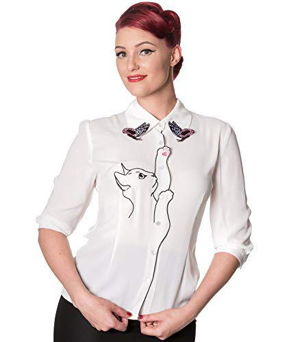 Dancing Days Banned Schnee Vogel Katze Schmetterling Chiffon Bluse - Weiß, UK 16 (XL)