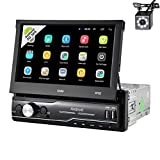 UNITOPSCI Single Din Car Stereo Android GPS Navigation Stereo Car Radio 2G 32G with 7 Inch Touch Screen Bluetooth Head Unit Support FM WiFi Mirror Link SWC AUX-in USB MP5 Player with Backup Camera