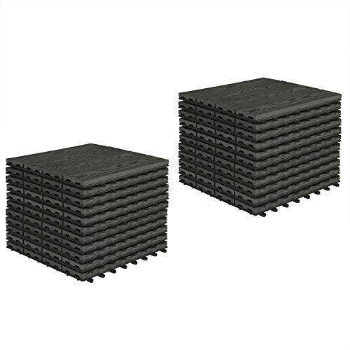 EUGAD 0007DB-2 Dalle terrasse extérieur Protection de Sol clipsable pour Jardin 30x30cm 22 pièces Anthracite