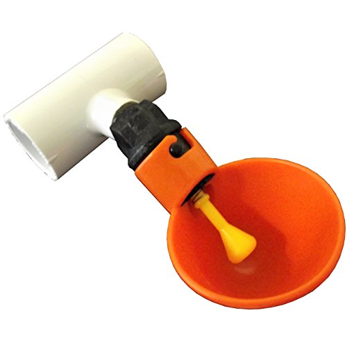 Rite Farm Products (5) Orange Automatic Waterer Drinker Cups & 1/2' PVC TEE Fittings Chicken Water Poultry