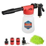 Sooprinse Car Foam Gun Foam Cannon Blaster, Garden Hose Sprayer with Adjustment Ratio Dial Blaster, Car Washer Foam Gun, Snow Foam Lance, 0.23 Gallon Bottle