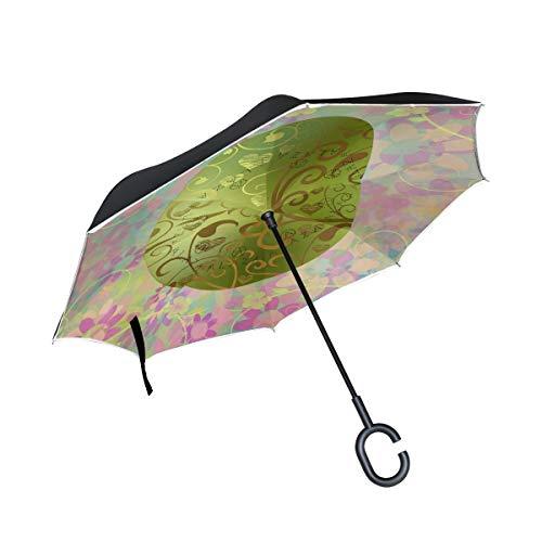 Huevo de Pascua Arte Flor A Prueba de Viento para el Coche Patio Paraguas con Mango en Forma de C Paraguas al Aire Libre Caballo Paraguas inverso