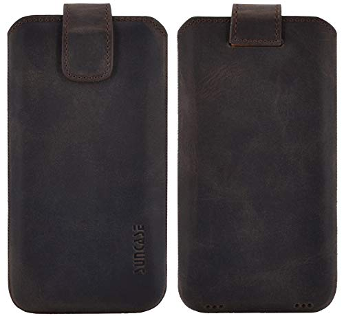 Suncase ECHT Ledertasche Leder Etui kompatibel mit Samsung Galaxy XCover 4s Hülle Tasche Schutzhülle (mit Rückzugsfunktion & Magnetverschluss) in antik braun