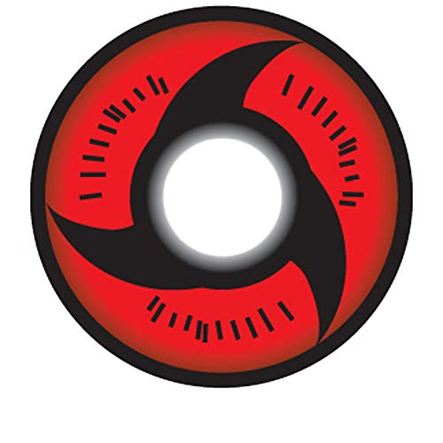Matlens - Crazy Fun Motiv Cosplay Farbige Naruto Sharingan Kontaktlinsen serie Mangekyo Itachi Uchiha rot CP-S2 2 Linsen 1 Kontaktlinsenbehälter 1 Pflegemittel 50ml FBA