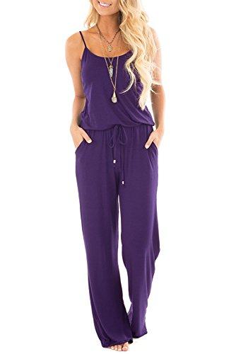 sullcom Women Summer Solid Sleeveless Wide Leg Jumpsuit Casual Spaghetti Strap Stretchy Long Pant Rompers (Medium, Purple)