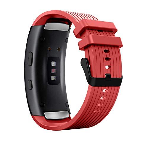 MoKo Correa de Reloj Deportiva Compatible con Samsung Gear Fit 2/Fit 2 Pro, Banda Ajustable con Rayas de Silicona para Samsung Gear Fit 2/Fit 2 Pro, Rojo