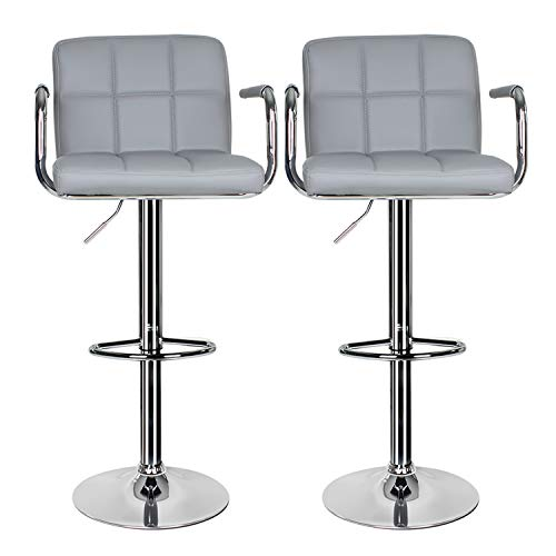 2 pcs Bar Stool,Leather Kitchen Bar Stool Swivel Gas Lift Breakfast Bar Stool with Armrest and Chrome Footrest,Breakfast Bar/Counter/Kitchen Home Furniture