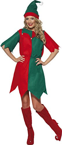 Smiffys, 21474, dames elfenkostuum, tuniek en muts, maat L Größe: 44-46 rood en groen.