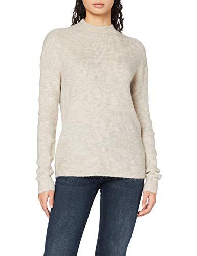 VERO MODA Damen VMLEFILE LS Highneck Blouse Color Pullover, Birch/Detail:Melange, M