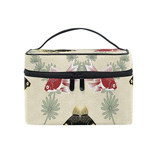 Chinese Drawing Fishes Cosmetic Bag Organizer Zipper Makeup Bags Pouch Toiletry Case for Girl Women