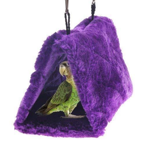 Cdycam Plush Pet Bird Hut Nest Hammock Hanging Cage Happy Snuggle Cave Tent (Medium)