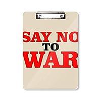 世界に愛と平和の世界戦争にノーと言います フラットヘッドフォルダーライティングパッドテストA4