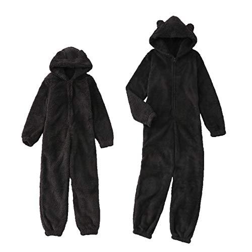 Einteiliger Overall Damen Kinder, Fleece Onesie Ganzkörper Kostüm, Schlafanzug Overall Teenager Damen, Fleece Bek Kinder Kinder Jungen und Mädchen Damen (schwarz, S)