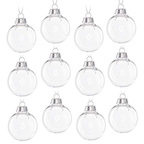 HahaGo Christmas Clear Baubles Transparent Ball Plastic Fillable Sphere Ornament for Xmas Tree/Home Decoration /Wedding/Birthday/Party/Gift Box etc (6cm, Set of 12Pcs with lid)