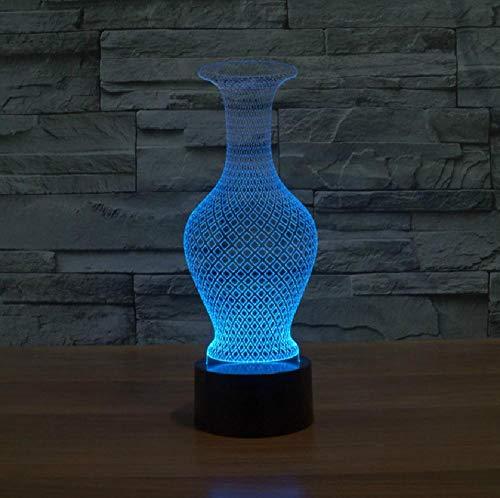 7 kleurverandering, led-nachtlampje, 3D-vaas, tafellamp, werkt op batterijen, met USB-aansluiting, kerstcadeau, verjaardagscadeau, romantische cadeaus voor kinderen en vrienden.