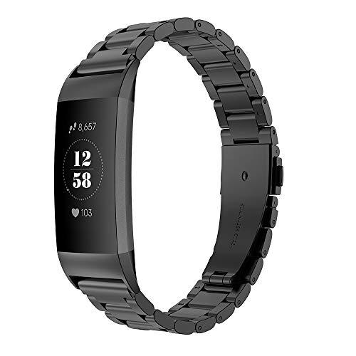 Simpeak Correa Compatible con Fitbit Charge 3/4 (5.5-8.1 Pulgadas), Correa de Acero Inoxidable Reemplazo Wristband Pulseras de Bandas, Negro
